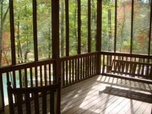 The porch of Sleeping Bear Cabin, one of our Muprhy North Carolina cabin rentals with 3 or more bedrooms.
