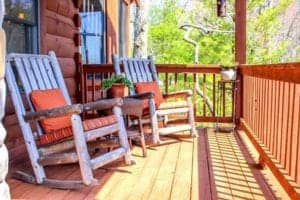 two chairs on the porch of a cabin rental in Murphy NC