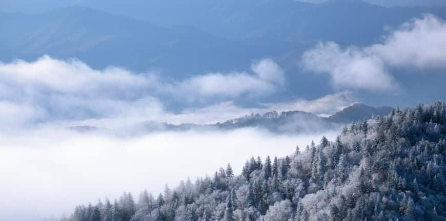 Snowy scene in the Smoky Mountains