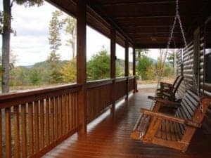 Porch swings at the Mountain Therapy cabin in Murphy North Carolina.