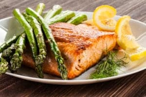 salmon and asparagus plate