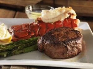 steak and lobster tail on plate